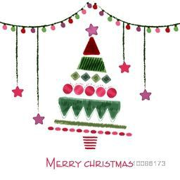 Colorful Xmas Tree with hanging stars and light decoration, Hand drawn illustration for Merry Christmas celebration.