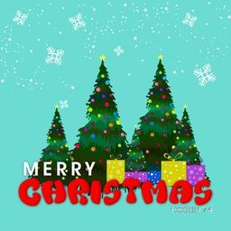 Colorful balls decorated Xmas Trees with gifts on snowflakes decorated background for Merry Christmas celebration.
