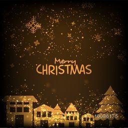Golden houses with xmas tree on snowflakes decorated background for Merry Christmas celebration.