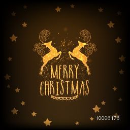 Golden text Merry Christmas with reindeer on stars decorated brown background.
