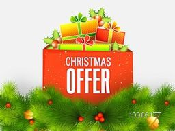 Christmas Offer background with colorful gift boxes, holly leaves, berries and fir tree branches.