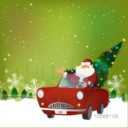 Happy Santa Claus carrying big Xmas Tree in red car on winter background for Merry Christmas celebration.