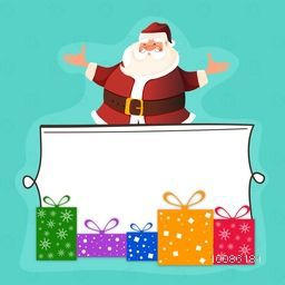 Happy Santa Claus behind blank frame with colorful gift boxes for Merry Christmas celebration.