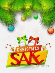 Christmas Sale Poster, Banner or Flyer design, Creative background with fir tree branches and hanging xmas balls.