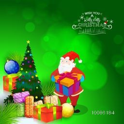 Santa Claus holding big gift box on shiny green background for Merry Christmas celebration.