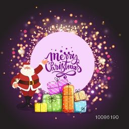 Colorful gift boxes with Santa Claus on glowing background for Merry Christmas celebration.