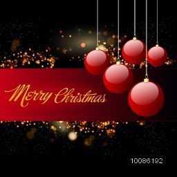 Elegant Greeting Card design with glossy hanging xmas balls on shiny background for Merry Christmas celebration.
