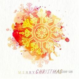 Elegant greeting card design decorated with snowflake and colorful splash for Merry Christmas celebration.
