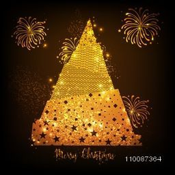 Creative Golden Xmas Tree with Fireworks explosion, Sparkling holiday background for Merry Christmas celebration.