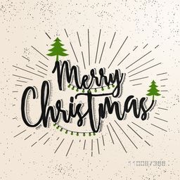 Merry Christmas lettering design with xmas tress decoration, Abstract vintage background with burst.