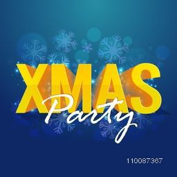 3D Golden Text Xmas on snowflakes decorated shiny background, Creative Poster, Banner or Flyer design for Christmas Party celebration.