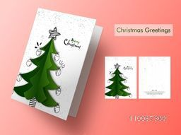 Creative Xmas Tree decorated, Greeting Card design for Merry Christmas celebration.