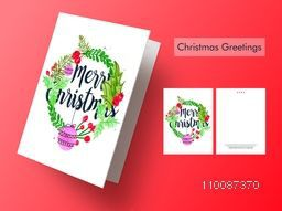 Merry Christmas celebration greeting or invitation card design.