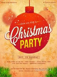 Christmas Party celebration Template, Banner, Flyer or Invitation Card design with Xmas Balls and Snowflakes decoration.