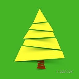 Xmas Tree design on green background for Merry Christmas celebration.