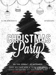 Christmas Party Template, Banner, Flyer or Invitation Card, Abstract Holiday background with Xmas Tree made by brush strokes and hanging balls decoration.