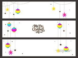Website header or banner set decorated with hanging xmas balls and stars for Merry Christmas celebration.