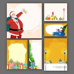 Elegant Greeting Cards set with illustration of santa claus and colorful gift boxes for Merry Christmas celebration.