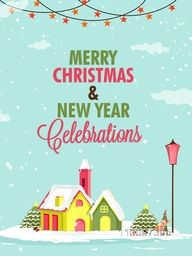 Merry Christmas and Happy New Year celebration, Greeting Card design with illustration of snow covered houses.