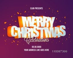 Party Celebrations Poster, Banner or Flyer design with 3D Text Merry Christmas.