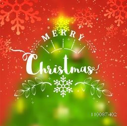 Blurred Xmas Tree design on snowflakes decorated red background for Merry Christmas celebration.