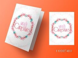 Beautiful flowers decorated greeting card design for Merry Christmas celebration.