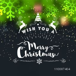Creative greeting card design decorated with shiny snowflakes for Merry Christmas celebration.
