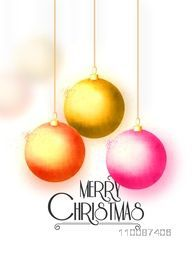 Greeting Card design decorated with glossy hanging Xmas Balls for Merry Christmas celebration.