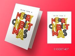 Greeting Card design with creative colorful text Merry Christmas.