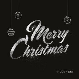 Creative Merry Christmas lettering design with hanging decoration balls on black background.