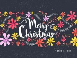 White Text Merry Christmas on colorful flowers decorated background, Vector greeting card design.
