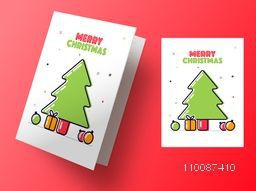 Greeting Card design decorated with Xmas Tree, Gift Boxes and Balls for Merry Christmas celebration.