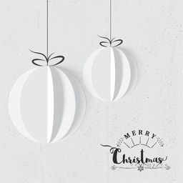 Creative paper cut out design of Christmas Balls for Merry Christmas celebration.