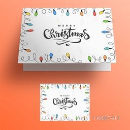 Colorful lights decorated greeting card design for Merry Christmas celebration.