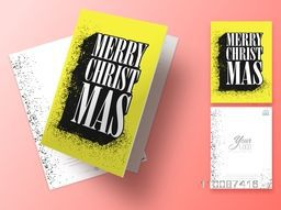 Elegant greeting card design with front and back page presentation for Merry Christmas celebration.