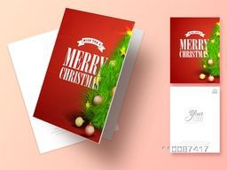 Greeting Card design decorated with beautiful Xmas Tree for Merry Christmas celebration.