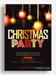 Christmas Party celebration Template, Banner or Flyer design with pixel xmas balls decoration.