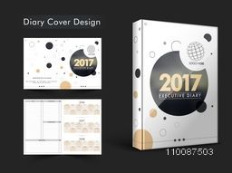 Creative Diary Cover design or Personal Organizer layout for New Year 2017.
