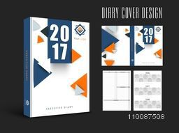 Abstract Diary Cover design, Personal Organizer or Notebook template for 2017.