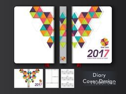 Personal Organizer, Notebook or Diary Cover with colorful abstract design for the year 2017.