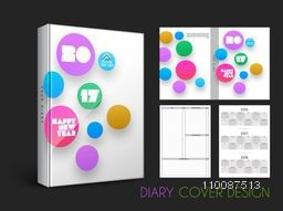 Colorful circles decorated, Diary Cover design for New Year, 2017.