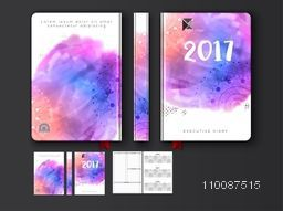 Creative colorful Diary Cover, Personal Organizer or Notebook design for the year 2017.