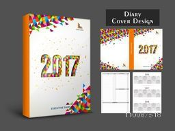 Colorful abstract design decorated, Diary Cover, Personal Organizer or Notebook template layout for the year 2017.