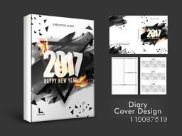 Creative Diary Cover design with abstract brush strokes for Happy New Year, 2017.