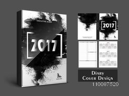 Creative Diary Cover design with abstract brush strokes for New Year, 2017.