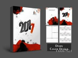 Abstract Diary Cover, Personal Organizer or Notebook template layout for the year 2017.