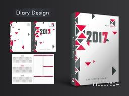 Creative Diary Cover, Personal Organizer or Notebook template layout for 2017 year.