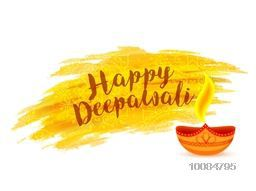 Creative Vector, Illuminated Lit Lamp with Text Happy Deepawali on floral, Abstract paint stroke background for Indian Festival of Lights Celebration.