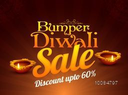 Bumper Diwali Sale Flyer, Special Offer Background, Clearance Poster, Discount Upto 60% Off, Vector illustration with stylized Lit Lamps for Indian Festival of Lights Celebration.