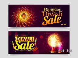 Elegant Bumper Diwali Sale, Website Header or Banner Set, Big Discount Upto 70%, Exploding Crackers for Indian Festival of Lights Celebration.